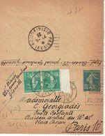 140 CL 2 Entier Semeuse 25 C. Bleu Plus Taxr Poste Restante Avec 2 X 159 10 C. Semeuse Sans Fond Vert Peu Courant - France