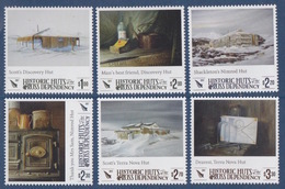 Ross, N° 161 à 166 + Bloc 12 (Huttes Historiques : Scott Discovery, Shackleton Nimrod, Scott Terra Nova ) Neuf ** - Ungebraucht