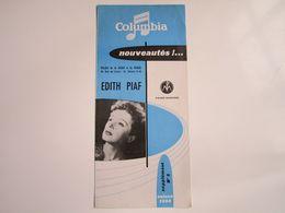 Edith PIAF - Disques COLUMBIA - Supplément N°8 Saison1956 - Nouveautés (4 Pages) - Musique & Instruments