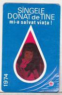 Romania Old 1974 Small Calendar - Red Cross - Calendars