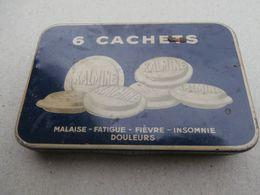 Kalmine Métadier -  6 Cachets - Tours, France  -Boîte Metal - Old Metal Box - Medical & Dental Equipment