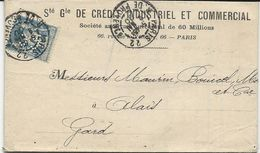 LETTRE 1900 AVEC TIMBRE AU TYPE SAGE PERFORE C C - CREDIT INDUSTRIEL ET COMMERCIAL - - Perforés