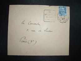 DEVANT TP M. DE GANDON 15F OBL. DAGUIN 24-9 1951 EU SEINE-INFERIEURE (76) SON CHATEAU SA FORET LA MER 3 KM - Marcophilie (Lettres)