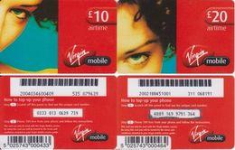 75/ United Kingdom; Virgin Mobile, 2 Old Prepaid GSM Cards - Royaume-Uni