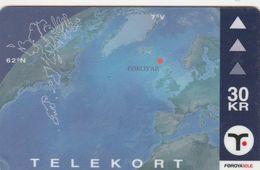 Faroe Islands, OD-033,  30 Kr , Faroese Map, 2 Scans. - Féroé (Iles)