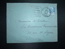 DEVANT TP M. DE GANDON 15F OBL. DAGUIN 16-11 1951 PUTANGES ORNE (61) SUISSE NORMANDE ECRIRE ESS1 PUTANGES - Marcophilie (Lettres)