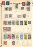 Grande Bretagne. 1855-1922. Lot De 47 Oblitérés Sur Feuilles. Voir 2 Scans. - 1840-1901 (Victoria)