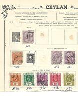Ceylan. 1872-1923. Lot De 9 Oblitérés Sur Feuille. . - Ceylon (...-1947)