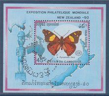 Bloc 1 Timbre Oblitéré Dentelé Etat Du Cambodge Papillon Exposition Philatélique Mondiale Nouvelle Zélande 90 - Farfalle