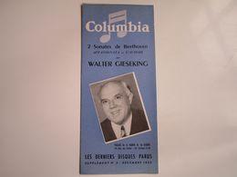Walter GIESEKING - Disques COLUMBIA - Supplément N°3 Décembre 1953 - Les Derniers Disques Parus (dépliant 4 Volets) - Musica & Strumenti