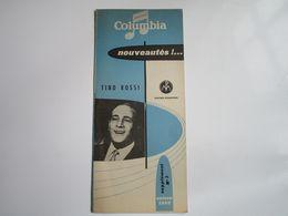 Tino ROSSI - Disques COLUMBIA - Supplément N°3 Saison 1956 - Nouveautés!..... (4 Pages) - Musica & Strumenti