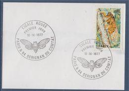 Oblitération Avec Papillon Sur Timbre Cigale Rouge France 1er Jour 10.IX.77 N°1946 - Farfalle