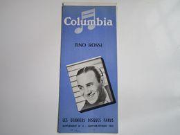 Tino ROSSI - Disques COLUMBIA - Supplément N°5 Janvier-Février 1953 - Les Derniers Disques Parus (4 Pages) - Musica & Strumenti