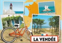 CARTES GÉOGRAPHIQUES -  CARTE DE LA FRANCE - ( 85 ) LA VENDÉE - 4 PETITES VUES - CPM - VIERGE - - Cartes Géographiques
