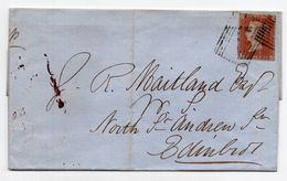 1850. GREAT BRITAIN,USED 1 PENNY. QUEEN VICTORIA, IMPERF, COVER - 1840-1901 (Regina Victoria)