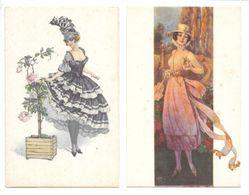 2 Cpa...illustrateur... C M...art Nouveau...art Déco...mode...jeune Femme Avec Robe Et Chapeau - Otros Ilustradores