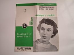 Maria REMUZAT - Disques DUCRETET-THOMSON - Supplément N°2 1954 (dépliant 3 Volets) - Musica & Strumenti