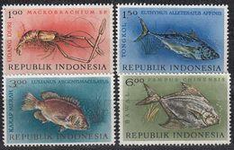 INDONESIEN 1963 -  MiNr. 392-395 Komplett  * / MLH - Fishes