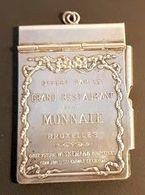 Carnet Pour Châtelaine - Métal Argenté- Grand Restaurant De La Monnaie - Bruxelles - Orfèvrerie Wiskemann - Menu Au Dos - Other Collections