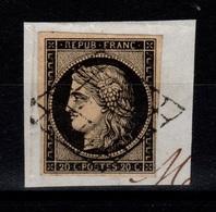 Ceres 1849 - YV 3 Oblitéré LUXE Sur Fragment Cote 65 Euros - 1849-1850 Ceres