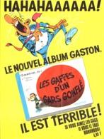 """PUB ALBUM  GASTON LAGAFFE """" LES GAFFES D'UN  GAS GONFLE  """"   1967 ( 3 ) - Objets Publicitaires"""