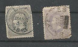 OCB  35 En 36 Gestempeld - 1869-1883 Leopold II