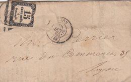 LETTRE 9 JANVIER 1863. ENREGISTREMENT DES DOMAINES LYON POUR LYON. TAXE 15c ( 3 VOISINS) - Cartas Con Impuestos