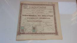 L'AQUITAINE Société D'alimentation Et D'approvisionnement Du Sud Ouest (1918) BEGLES-BORDEAUX - Acciones & Títulos