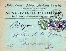 V7SC Enveloppe Timbrée Timbre Exposition Paris 1925 Entête 84 Carpentras Autos Cycles Motos Maurice Choisy - Marcophilie (Lettres)