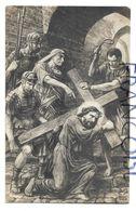 Chemin De Croix. Simon De Cyrène Aide Jésus à Porter Sa Croix. Signée L. Foller - Gesù