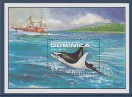 Bloc 1 Timbre Neuf Dentelé Commonwealth Dominica, Raies Manta - Fishes