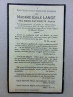 Décès De Marie-Antoinette Fabry, épouse D'Emile Lange, Havelange , 1937, 82 Ans - Décès