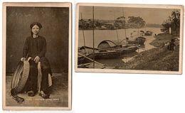 2 Old Ancienne Cabinet PHOTO 's Indochine Tonkin Jeune Femme Tonkinois & Ninh Binh River Scene INDOCHINA Annam - Photos
