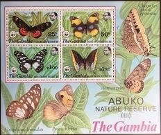 Gambia 1980 WWF Abuko Butterflies Minisheet MNH - Farfalle