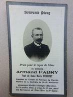 Décès D' Armand Fabry, Veuf De Marie Fichefet, Président Du Conseil De Fabrique Marchin, Jamagne 1915 - Décès