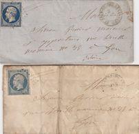2 LETTRES. N° 14. ( COLORIS ET BELLES MARGES). ST JEAN-DE-BOURNAY. PC 3119 POUR  LYON - 1849-1876: Periodo Classico