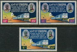 Ethiopie 1967. Michel #552/54 MNH/Luxe. 50 Years Of The Djibouti-Addis Ababa Railway Line. Trains (Ts10) - Trains
