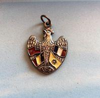 Médaille-Pendentif COQ GAULOIS Argent -4 DRAPEAUX ALLIES En Peinture émaillée 1914 (Angleterre-Belgique-Russie-France) - Militair