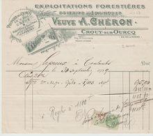 S & M.: Vve A. CHERON Exploitations Forrestières, à Crouy Sur Ourcq / Fact De 1929 - Agriculture