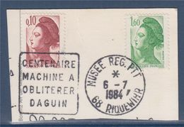 Sur Fragment Oblitération Centenaire Machine à Oblitérer Daguin Musée Régional PTT Riquewihr 6.7.84 - Marcophilie (Lettres)