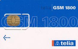 Denmark, Telia, Blue - White 1800, GSM / SIM Card With Chip, 2 Scans - Dänemark