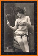 French Risque STOCKINGS MIRROR Photo Postcard Original Old 1910s Ca 2464.LCaP40 - Nus Adultes (< 1960)