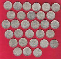 Monnaie Française Semeuse 5 Francs Argent Lot De 30 Pièces Millésimes Divers - Francia