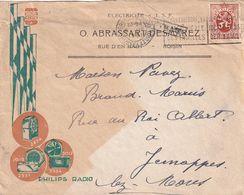 DDX 350 -- Belgique PHILIPS - Enveloppe Illustrée TP Héraldique BXL 1931 - Griffe De Gare QUIEVRAIN - Timbres