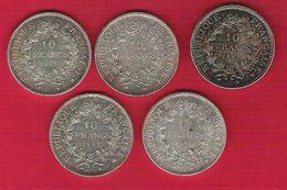 Monnaie Française Hercule10 Francs Argent Lot De 5 Pièces G.813 - Francia