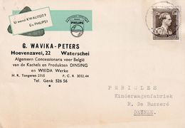 DDX 351 -- Belgique PHILIPS - Carte Avec Sigle TP Col Ouvert WATERSCHEI 1957 - Concessionnaire Wavika-Peters - Timbres