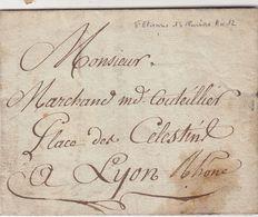 LETTRE. PAR LA MESSAGERIE. ST ETIENNE. 13 PLUVIOSE AN 12. POUR LYON. PETIT PAQUET ENVOI DE COUTEAU - Marcophilie (Lettres)