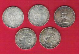 Monnaie Française Argent 100 Francs Lot De 5 Pièces Monnet Curie Panthéon - Francia