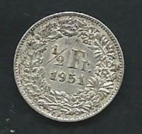 Switzerland 1/2 Franc 1951 Silver     Pia23205 - Suisse