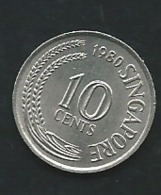 Singapour  SINGAPORE 10 Cents 1980    Pia23213 - Singapore